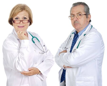 Couple of seniors doctors a over white background photo