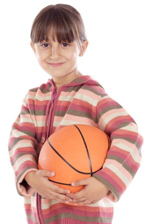 adorable girl whit ball of basketball a over white background Stock Photo - 2421818