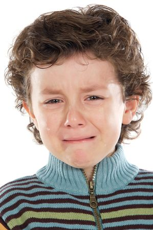 child crying: Adorable child crying a over white background Stock Photo