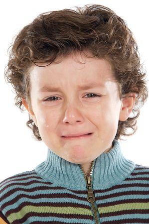 ni�o llorando: Adorable ni�o llorando a en fondo blanco