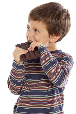 over eating: child eating chocolate  a over white background Stock Photo
