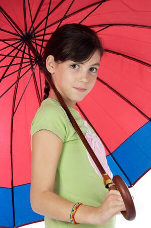 adorable girl whit umbrella a over white background Stock Photo - 2435687