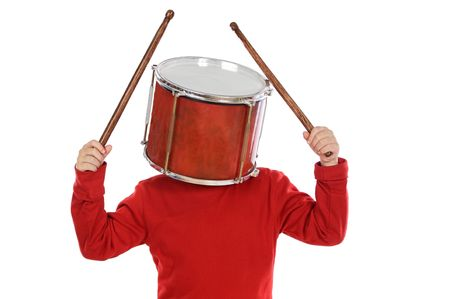 scandalous: Child with a drum in the head a over white background