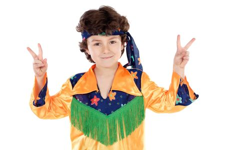 Child hippie whit peace sing a over white background Stock Photo - 2456964