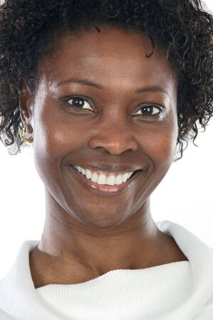 Attractive African woman a over white background photo
