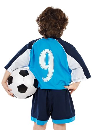Child  with soccer ball a over white background photo
