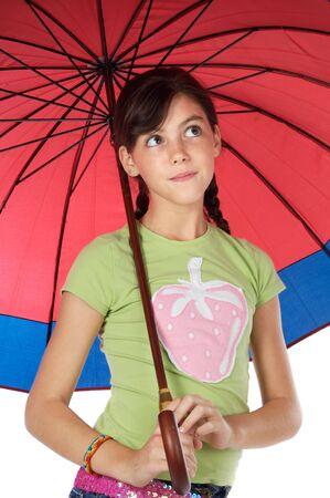 adorable girl whit umbrella a over white background photo