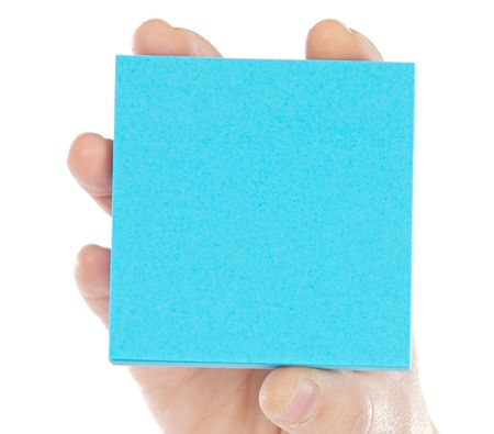 Post-It and hand a over white background photo