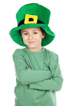 Child with green hat a over white background Stock Photo - 2514221