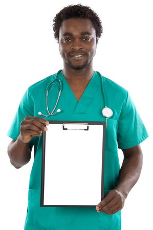 Doctor whit clipboard a over white background photo