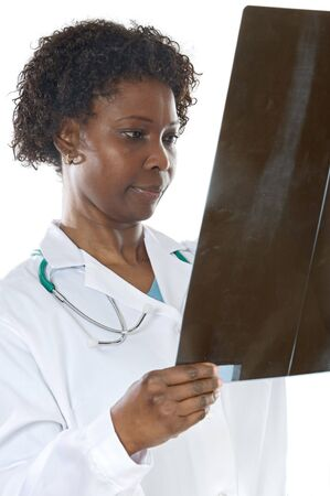 Woman doctor whit radiography a over white background Stock Photo - 2514222