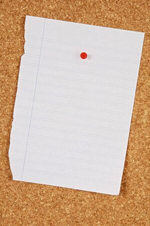 hoja en blanco: Hoja de papel en blanco en la clavija Junta