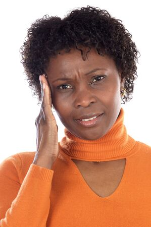 Woman whit headache a over white background photo