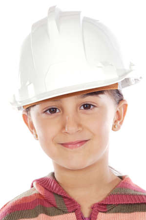 future engineer girl a over white background photo