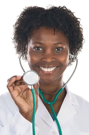 African american woman doctor a over white background Stock Photo - 2599060