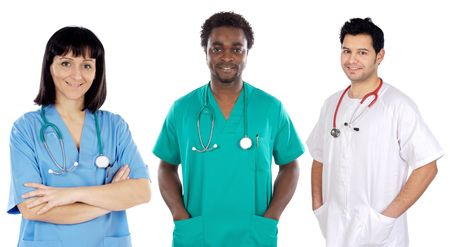 Team of young doctors a over white background photo