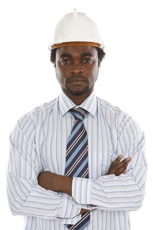 African american engineer a over white background Stock Photo - 2631582