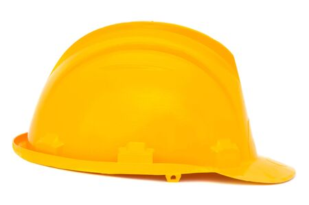 Yellow helmet a over white background Stock Photo - 2639422
