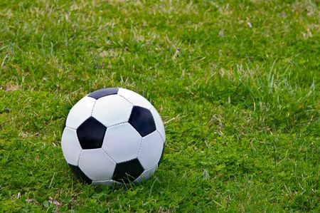 Soccer ball on the grass photo