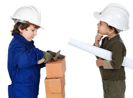Worker and supervisor a over white background photo