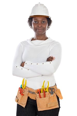 executive helmet: African american woman with helmet and tools a over white background