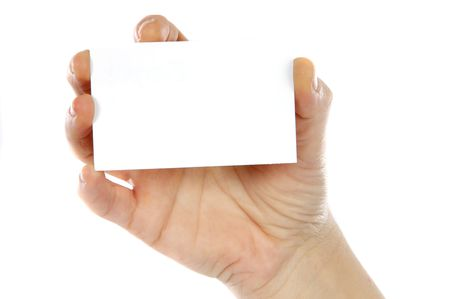 Hand whit a card a over white background photo