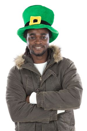 African American with saint patrick«s hat  isolated Stock Photo - 2673264