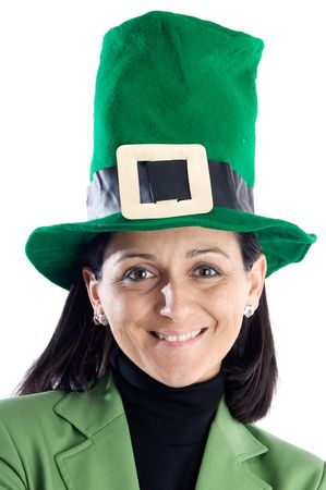 Woman whit a hat green a over white background photo