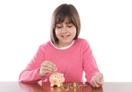 money box: Adorable girl with money box a over white background