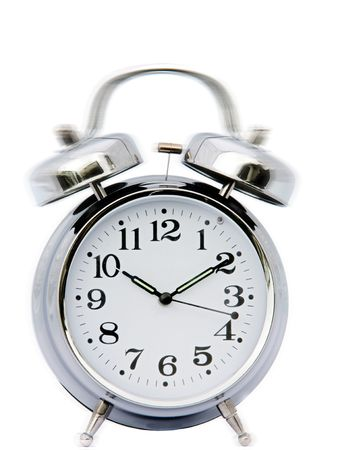Clock ringing - a over white background photo
