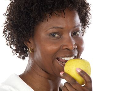 thinness: Attractive girl whit an apple a over white background