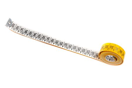 centimetres: photo of a measuring tape a over white background