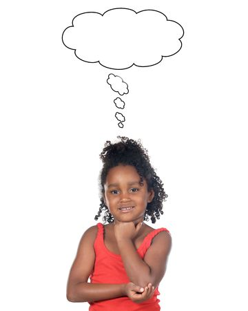 youthful: Adorable girl thinking a over white background Stock Photo