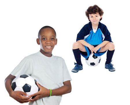 kids  soccer: Couple of children with soccer ball a over white background Stock Photo