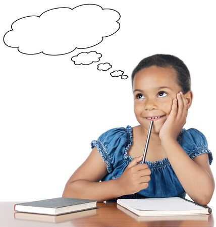 black children: Adorable girl thinking a over white background Stock Photo