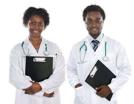 Couple of  African Americans  doctors a over white background photo