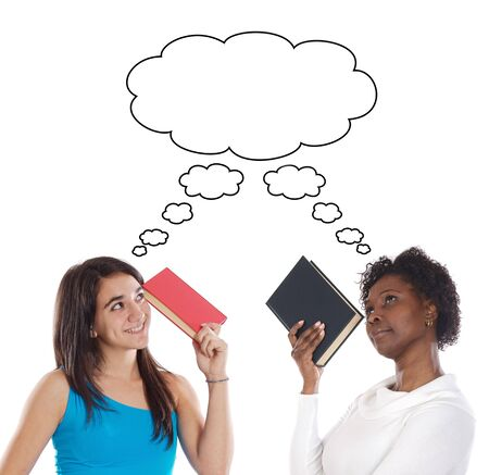 Couple of young girls thinking with books Stock Photo - 2768030