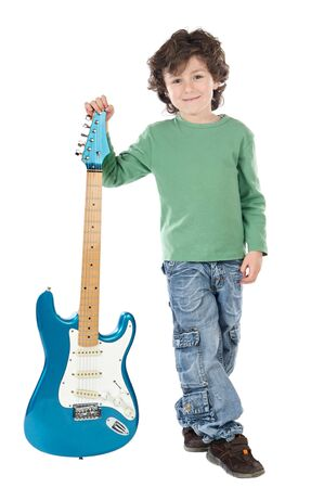 handsome boy: Handsome boy whit electric guitar a over white background