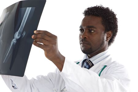 fmale: Doctor whit radiography a over white background