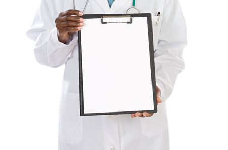 whit: anonymous doctor whit clipboard a over white background
