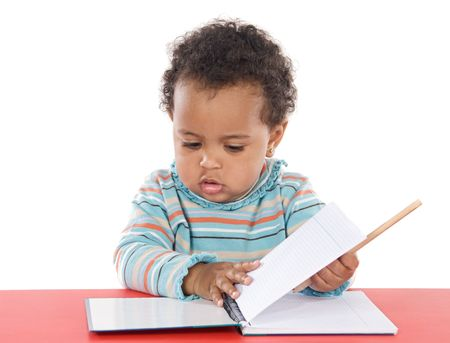 adorable  studying a over white background Stock Photo