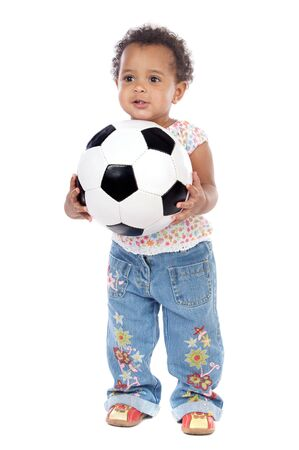 with soccer ball a over white background photo