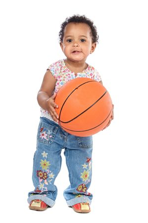 whit: Adorable  whit basketball a over white background