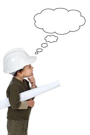 arquitecto: foto de un adorable futuro arquitecto en un fondo blanco