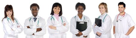 Multi-ethnic medical team a over white background photo