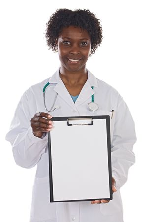 African american woman doctor whit clipboard a over white background photo