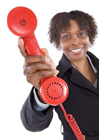 Woman with a red phone a over white background Stock Photo - 2892832