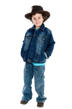 Adorable child wearing a cowboy hat a over white background Stock Photo - 2911792