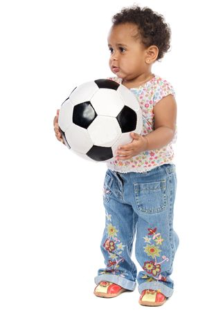with soccer ball a over white background Stock Photo - 2954986