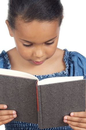 adorable girl reading a over white background photo